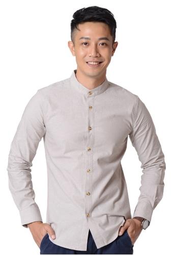 Praise beige Stand Collar Long Sleeves Shirt ABD27AA7555B89GS_1
