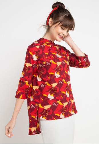 Batik Solo red and multi Long Sleeve Cotton Print Blouse FE3A1AABC22AB6GS_1