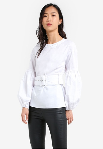 LOST INK white Belted Bubble Sleeve Top LO238AA0RVKIMY_1
