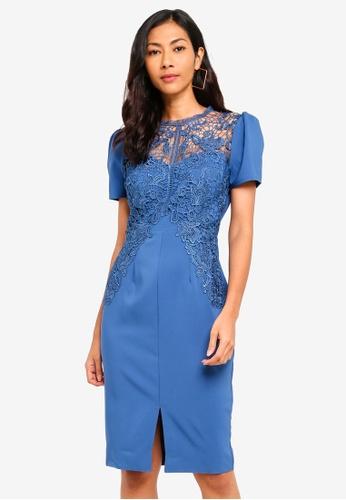 Little Mistress blue Denim Crochet Dress 9F83EAA7036F4CGS_1