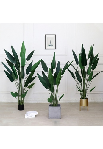 Propstation Potted Faux Bird of Paradise Tree 160cm with Braided Woven Basket DD987HL6892B11GS_1