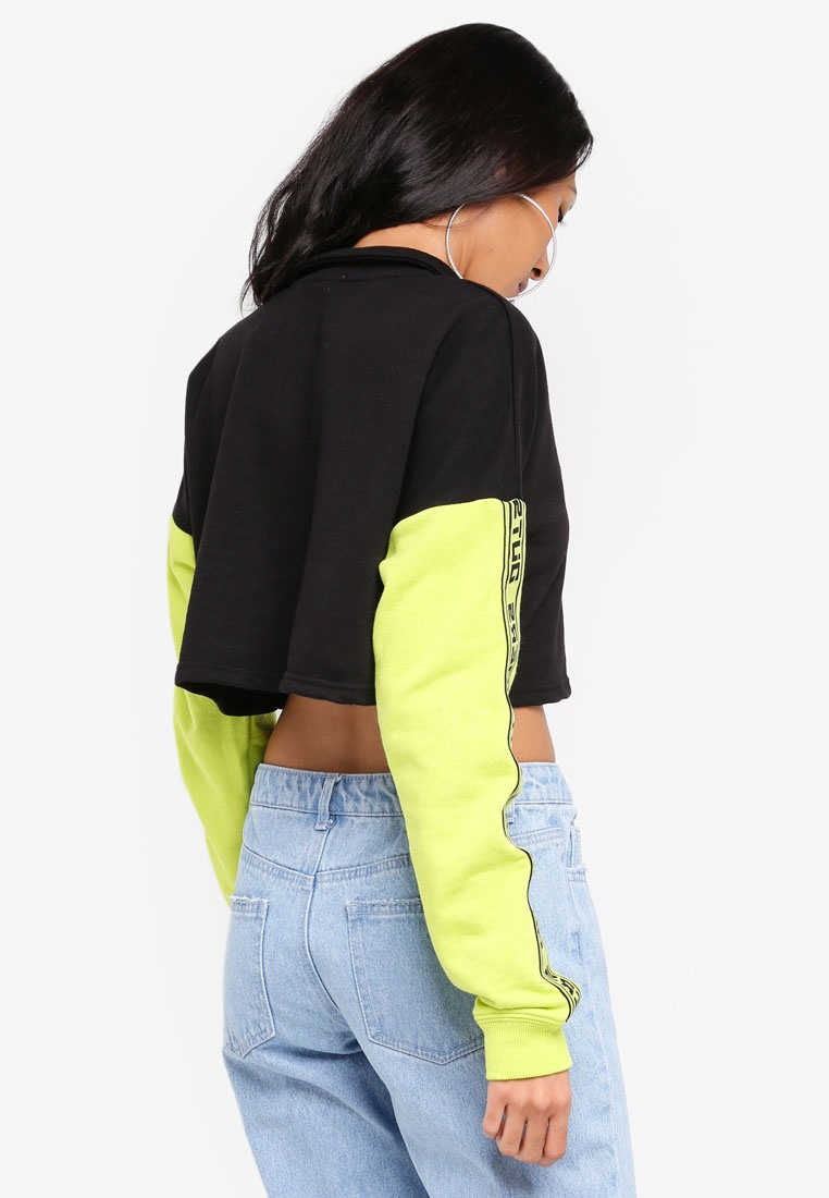 Acid Factorie Lime Body Black Sleeves Jumper Zip Funnel Crop Neck x68wqn6rA0