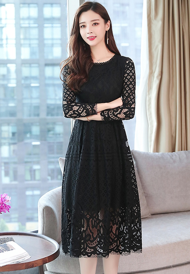 W Halo Maxi Slim Lace Dress Black A 1w4UdU