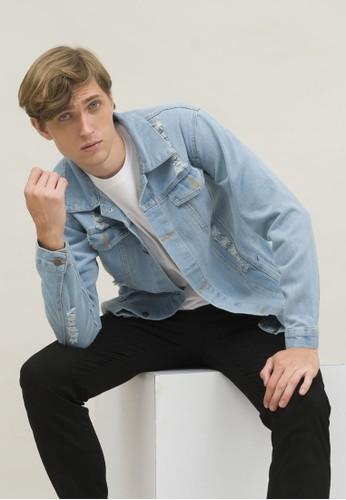 House of Cuff blue Houseofcuff Jaket Jeans Pria Polos Tebal Dilan Denim Biru Pudar Ripped 41223AA14F97F3GS_1