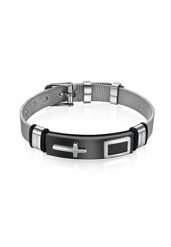 HAPPY FRIDAYS black Titanium Steel Cross Mesh Bracelet JW QF-SL040 2CB73ACCBF8E26GS_1