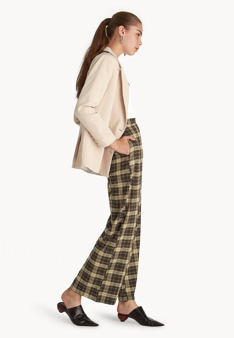 Brown Tartan High Leg Wide Waisted Pomelo Pants Brown a48q6Y