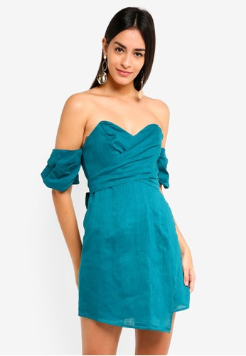 INDIKAH blue Off Shoulder Puff Sleeve Faux Wrap Dress A7D08AA1934D77GS_1