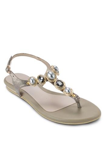 ODELE 閃石珍珠夾腳繞踝esprit 童裝涼鞋, 女鞋, 鞋