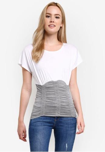 Miss Selfridge white Grey Ruched Corset T-Shirt MI665AA0RF1EMY_1