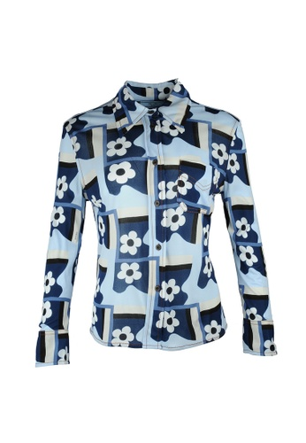 PRADA blue Prada Flower Fantasy  Shirt in Blue 877F8AA74236C3GS_1