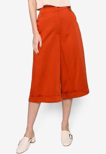 Origin by Zalora orange Cuff Detail Culotte made from TENCEL™ 21ACBAA4147BE0GS_1