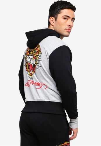 Buy Ed Hardy Ed Hardy Tiger Rhinestone With Font Embroidery Zip Up