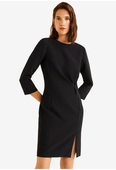 7d1216f493a04 Mango black Draped Detail Dress 2F8FAAA51B9A63GS 1
