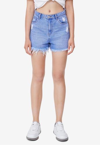 Urban Revivo blue Denim Shorts 48E3AAA83992D2GS_1