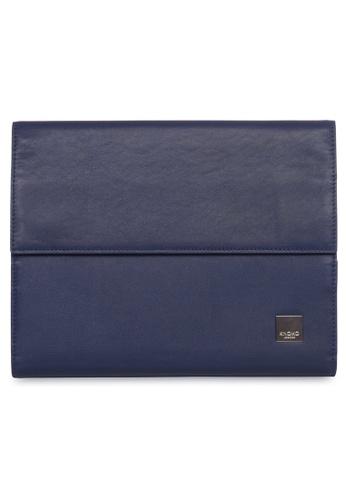 "knomo blue Knomad 10"" Air Premium Leather Portable Organizer (Marine) ABBD9AC06B2B14GS_1"