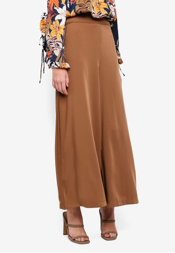 bYSI brown Invi Piping Wide Leg Trousers EC046AA9D40267GS_1