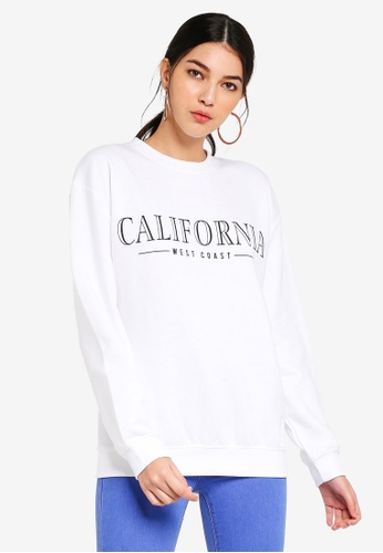 MISSGUIDED white California Slogan Sweat CF866AA42A3EBAGS_1