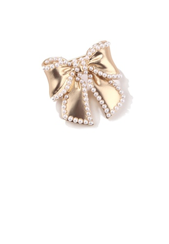 Glamorousky white Fashion Temperament Plated Gold Ribbon Imitation Pearl Brooch A2D0EAC36524E7GS_1