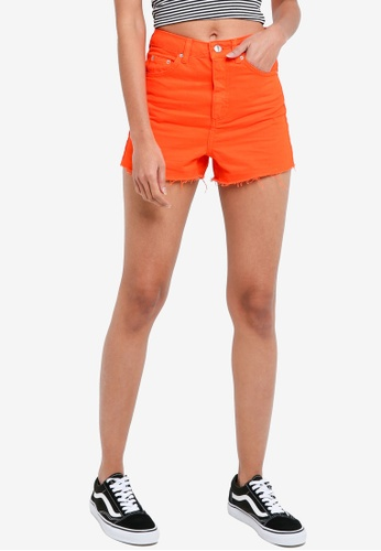 TOPSHOP red Flame Red Mom Shorts 77D59AA70036D7GS_1