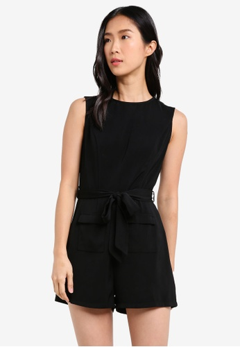ZALORA black Playsuit With Utility Pocket 8672CAADCFADBEGS_1