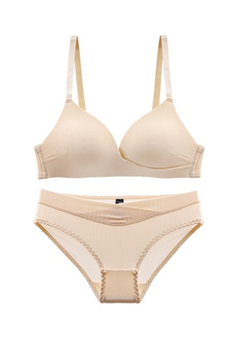 ZITIQUE beige Young Girls' Summer Sexy Ultra-thin Triangle Cup Lingerie Set (Bra And Underwear) - Beige BCF84USF5F1D38GS_1