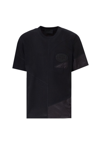 Prada black Prada Mixed Media Logo Patch T-Shirt in Black 85285AAE36DD1CGS_1