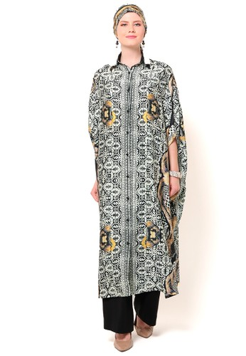 Kanzi by liza yahya black and yellow Kanzi Long Collared Kaftan Ethnic Modern Bayik D3FDCAACCBA4C1GS_1