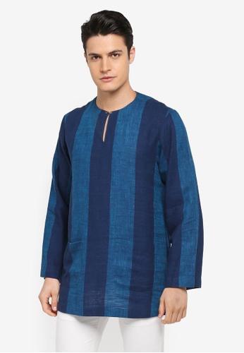 Rizalman for Zalora blue Amar Top Baju Melayu Stripes RI909AA0SF0BMY_1