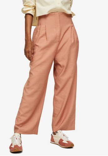 Mango orange Pleated Crop Trousers 3D0C2AA837D936GS_1