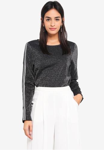 Vero Moda black and silver Glitter Long Sleeve Top 05D54AA145E372GS_1