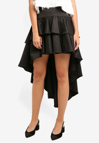 MDSCollections black Asymmetrical Ruffled Skirt In Black 70CD6AA1C743C3GS_1