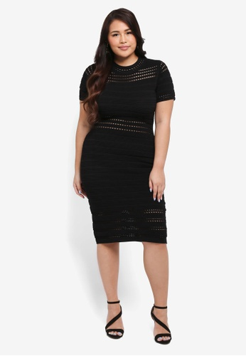 Goddiva black Plus Size Cut Out Bodycon Dress 5983DAA89132AAGS_1