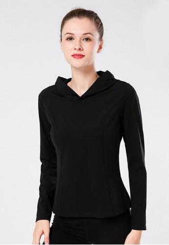 B-Code black ZYG3063-Lady Quick Drying Running Fitness Yoga Sports Hoody -Black 5AC25AA209583EGS_1