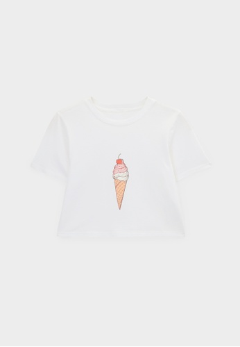 Pomelo white Ice Cream Cherry Cone Graphic Tee - White 249D7AAACDB4DFGS_1
