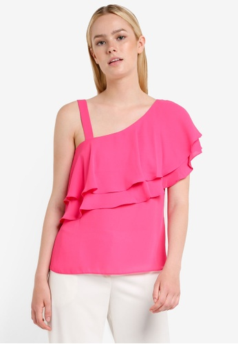 Dorothy Perkins pink Petite Magenta Ruffle Top DO816AA11QWEMY_1