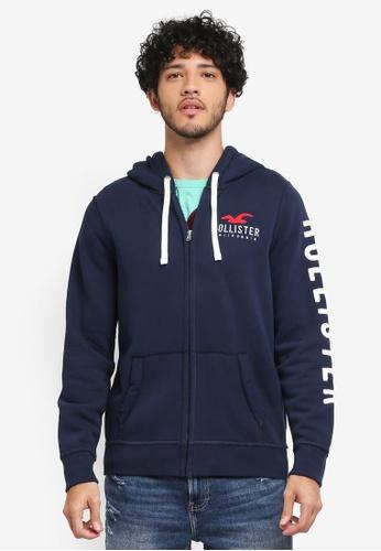 Hollister navy Brand Logo Zip Hoodie 53B46AA10E6F00GS_1