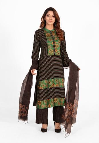 Le Reve multi Le Reve Multicolor Stripped Salwar Kameez Set 379F9AA547522EGS_1