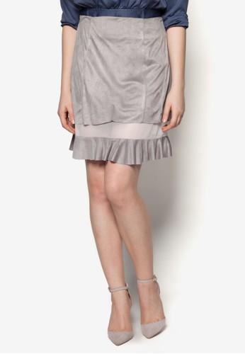 異材質拼接荷葉邊短裙, 服esprit鞋子飾, 迷你裙