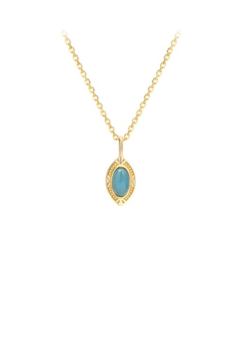 Glamorousky silver 925 Sterling Silver Plated Gold Simple Temperament Geometric Pendant with Cubic Zirconia and Necklace BD236AC9D1A3ADGS_1