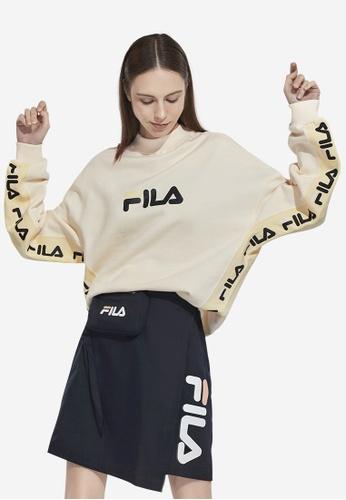 FILA beige FILA x SNIDEL FILA Logo Loose Fit Cotton Sweatshirts 5DE72AA363F89EGS_1
