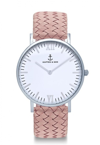 """Kapten & Son pink Campus Silver """"Rose Woven Leather"""" DC67AACD8ED431GS_1"""