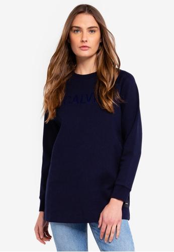 Calvin Klein navy Long Sleeve Fa Logo Raglan Sweatshirt - Calvin Klein Jeans E8A7FAAD3FF636GS_1