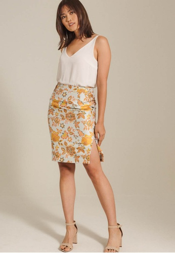 Dressing Paula orange Oriental Jacquard Pencil Skirt 5C857AA04F0BCFGS_1