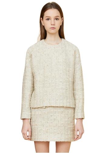 MILLOGREM beige Comma Tweed Wool Pullover MI241AA0GE5USG_1