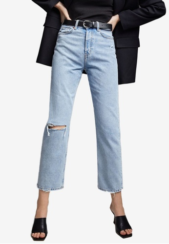 H&M blue Straight High Ankle Jeans 41FB6AA423D882GS_1