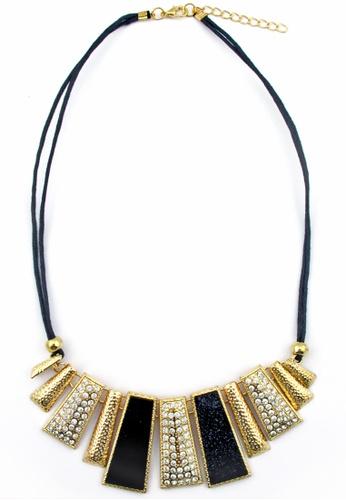 YOUNIQ gold YOUNIQ-Basic Diamante Geometric Statement Necklace (Black) YO999AC33THAMY_1