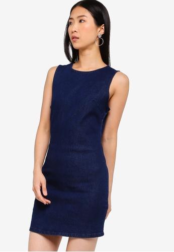 ZALORA BASICS blue Basic Denim Fitted Dress 80FE9AA891132EGS_1