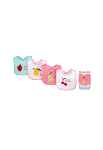 Little Kooma white and pink Baby Girl Knit Terry With Peva Bib 4pc Fruits 01783 C65F7KC67612C0GS_1