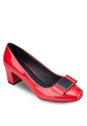 方頭salon esprit蝴蝶結粗跟鞋, 女鞋, 鞋
