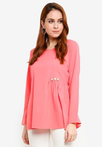 Aqeela Muslimah Wear pink Embellished Gather Top 1DE10AA4F37A9FGS_1
